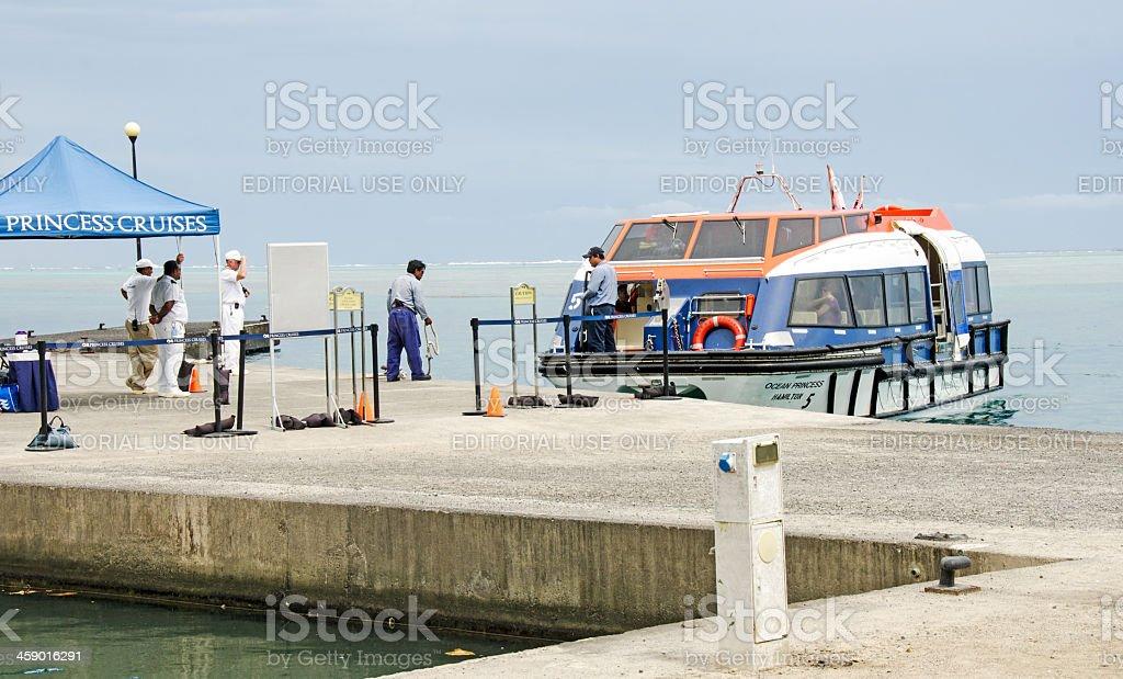 Cruise Ship Passengers Landing Moorea royalty-free stock photo