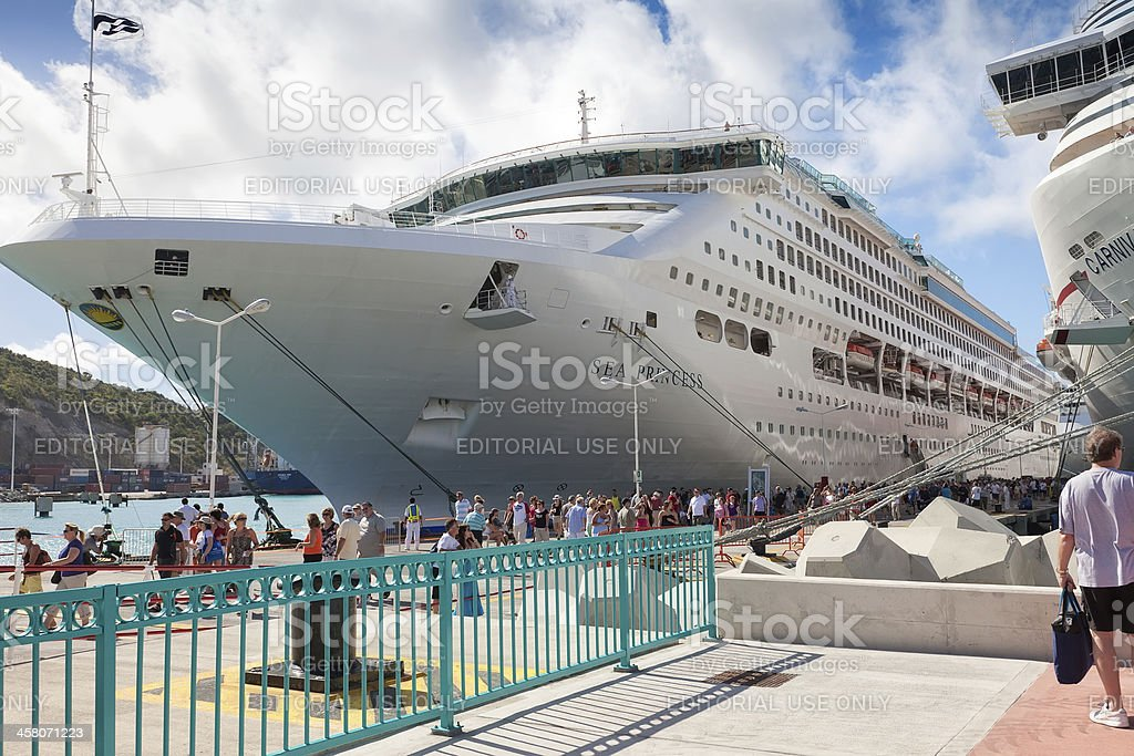 Cruise Ship Passengers on Dock in  St. Maarten, Carib royalty-free stock photo