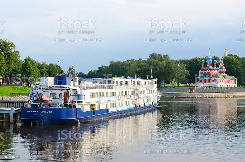 Cruise ship Princess Annabella on river berth, Uglich, Russia stock photo