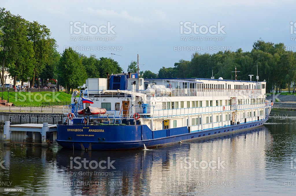 Cruise ship Princess Annabella on river quay, Uglich, Russia stock photo