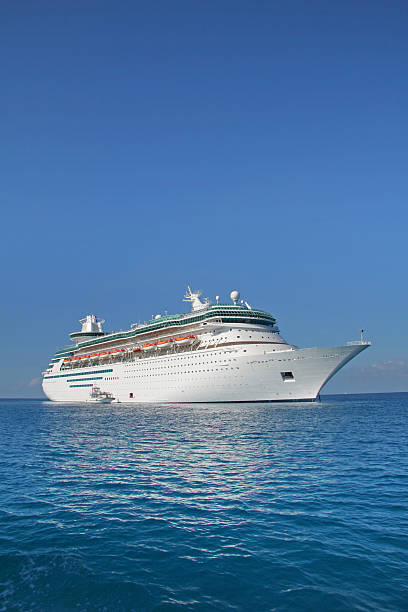 Cruise ship sailing on a clear day stock photo