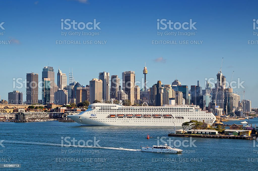 P&O cruise ship sails out of Sydney stock photo