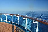 Cruise ship stern. Wake at Caribbean Sea