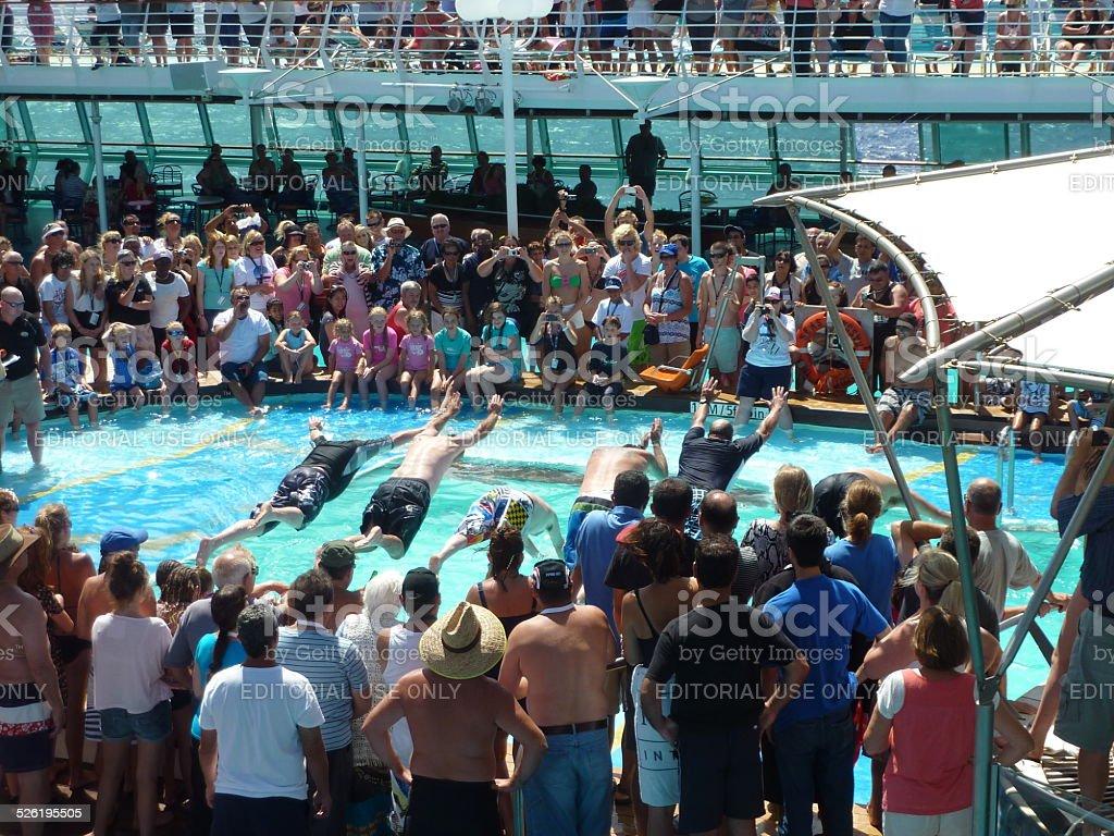 Cruise ship swimming pool games stock photo