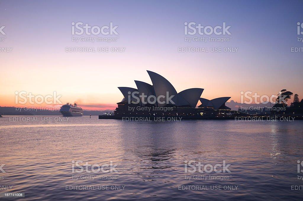 Cruise Ship & Sydney Opera House royalty-free stock photo