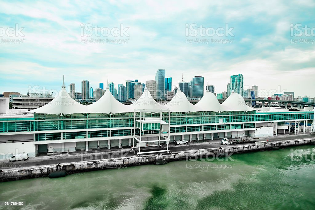 Cruise Ship Terminal With Downtown Miami in Background. stock photo