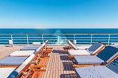 Cruise Ship Vacation. Sea Travel Concept with Deckchairs on the Vessel Deck.