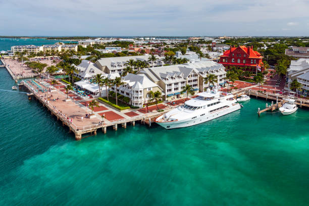 Cruise ship view of the Mallery Square pier at Key West, Florida