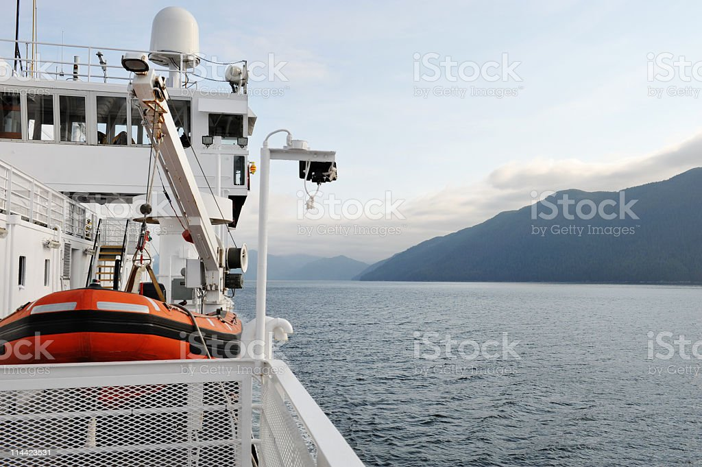 Cruise ship with lifeboat stock photo