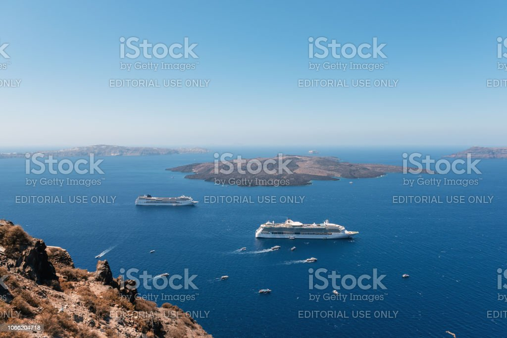 Cruise Ships Are Staying Moored In Volcanic Caldera Of