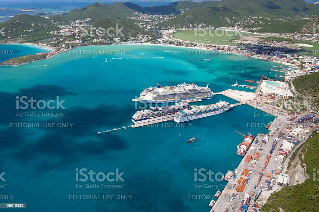 cruise ships at the dock in Philipsburg, St. Maarten stock photo