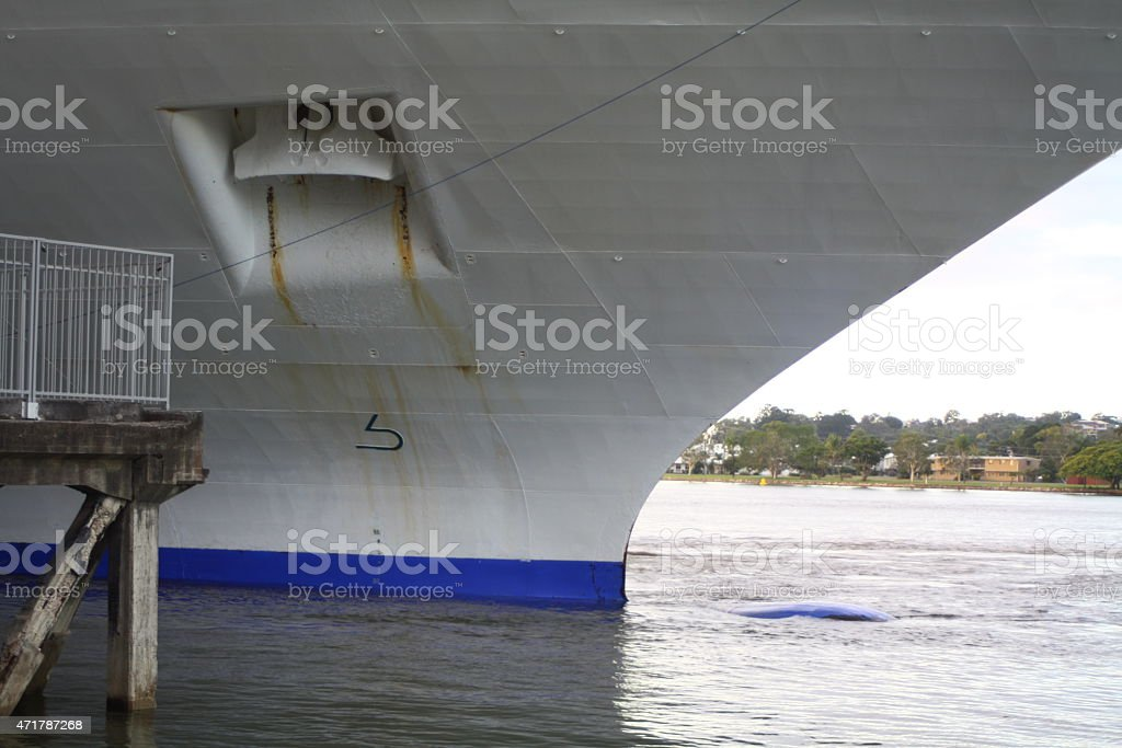 Cruise Ships Bow Viewed from Water Line stock photo