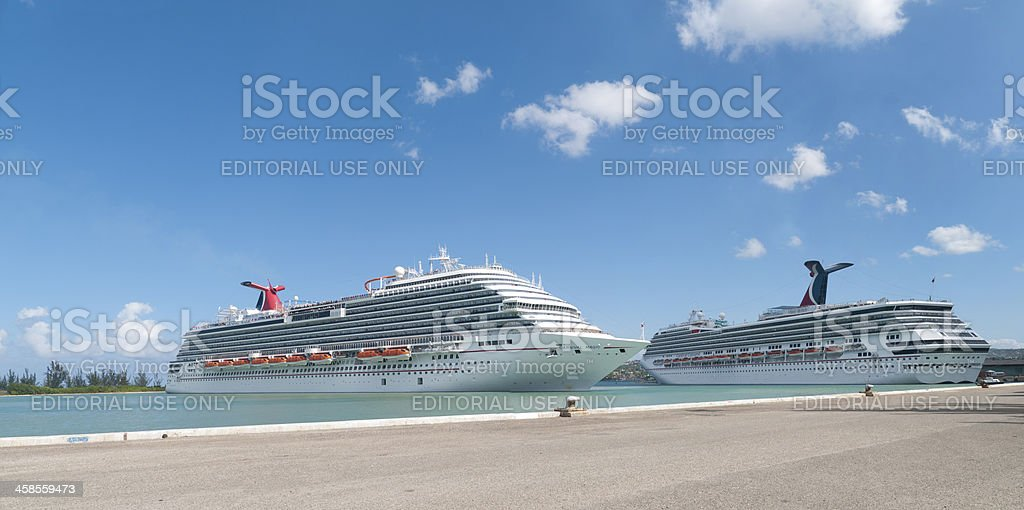 Cruise Ships Carnival Magic and Conquest stock photo
