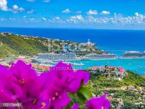 istock Cruise ships docked at Charlotte Amalie, St Thomas, a US Virgin Islands 1221734431