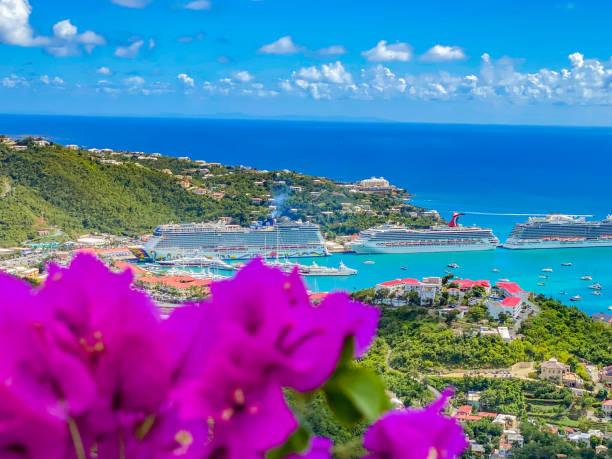 Cruise ships docked at Charlotte Amalie, St Thomas, a US Virgin Islands stock photo
