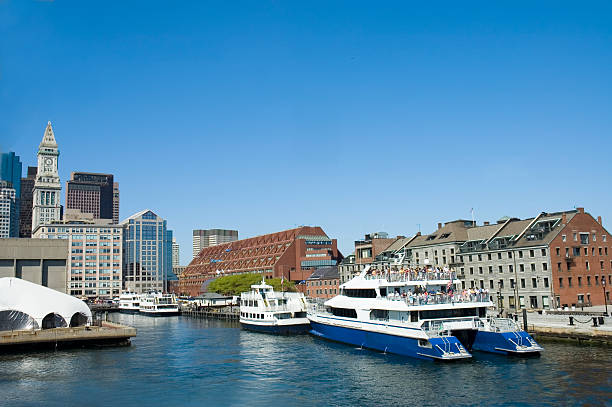Cruise ships in Boston stock photo