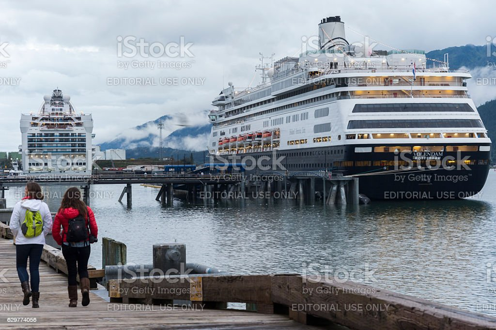 Cruise ships in Juneau port stock photo