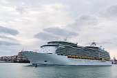 Miami, Florida, USA - January 20, 2018: Cruise ships in Port of Miami