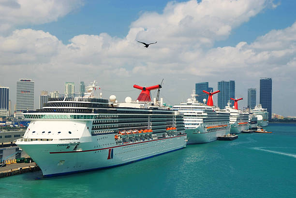 Cruise ships in Port of Miami stock photo