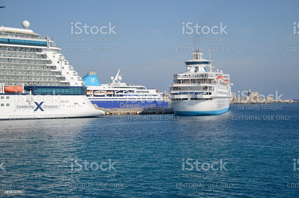 Cruise ships in the port of Rhodes. stock photo