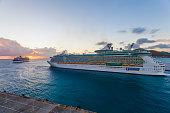 istock Cruise ships leaving Philipsburg Port, St. Maarten 1300661498