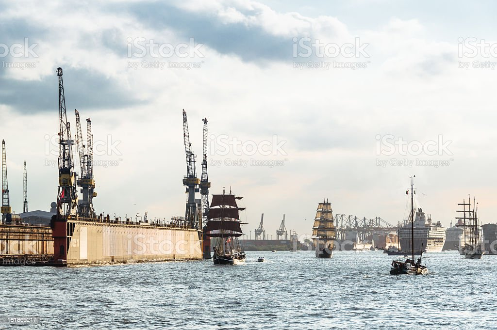 Cruise Ships on the River Elbe royalty-free stock photo