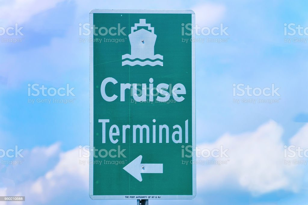 Delaware Traffic Map.Cruise Terminal Indicator Plate On Delaware Expressway Stock Photo