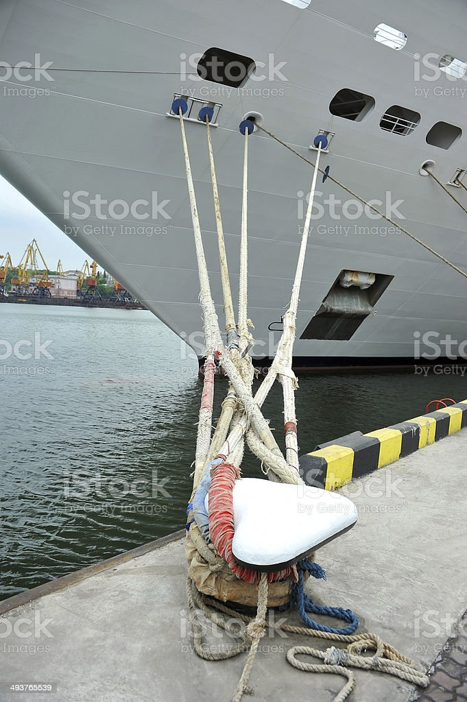 Cruise travel ship and bollard royalty-free stock photo