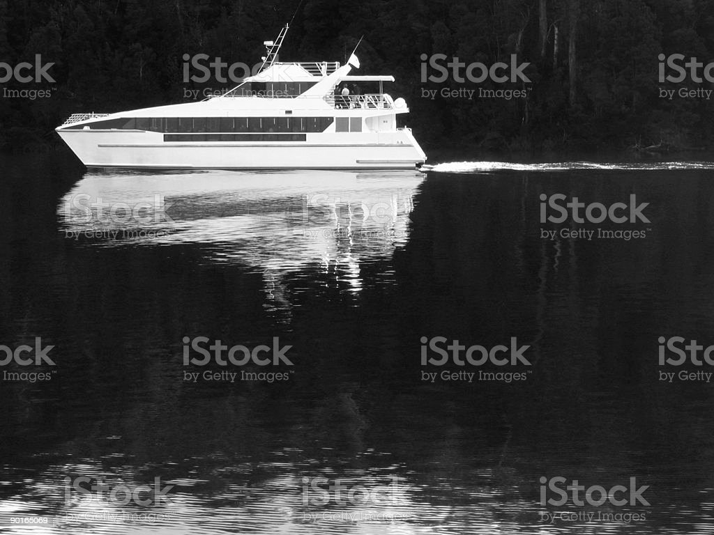 cruise yacht on dark river royalty-free stock photo