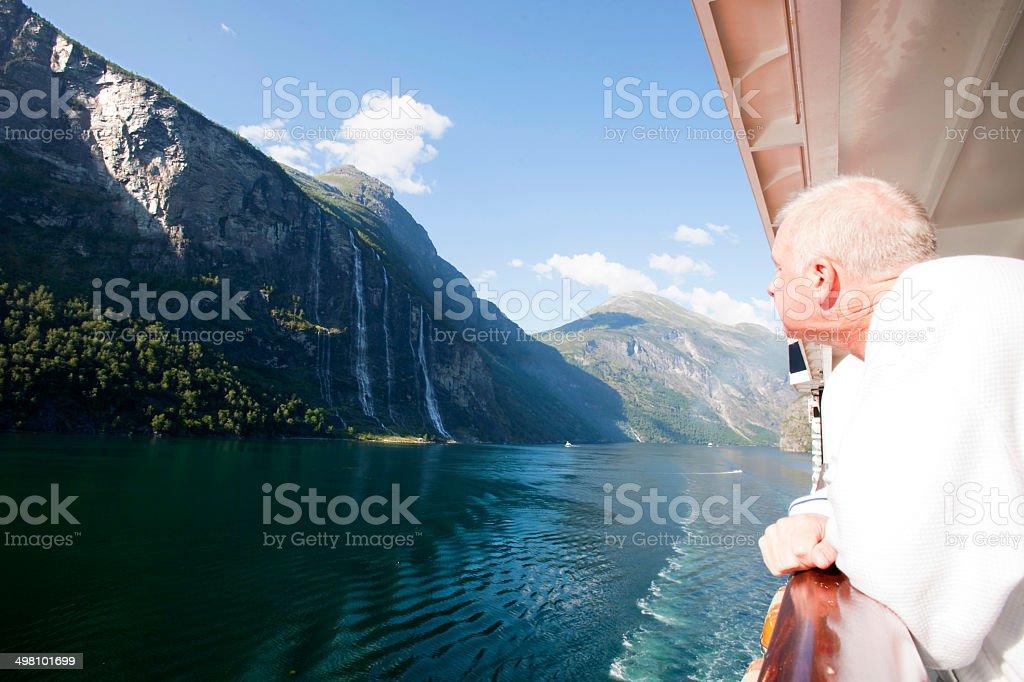 Cruiser Admiring Seven Sisters Falls stock photo