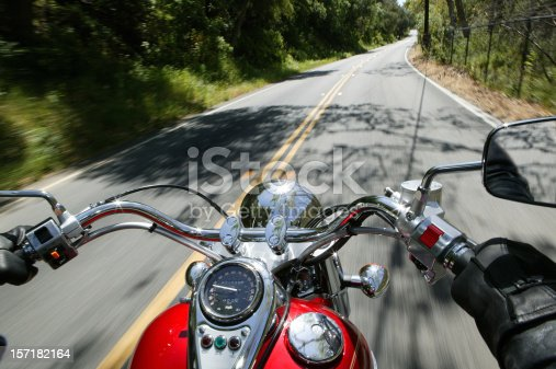 Cruiser motorcycle on a open road from rider point of view.