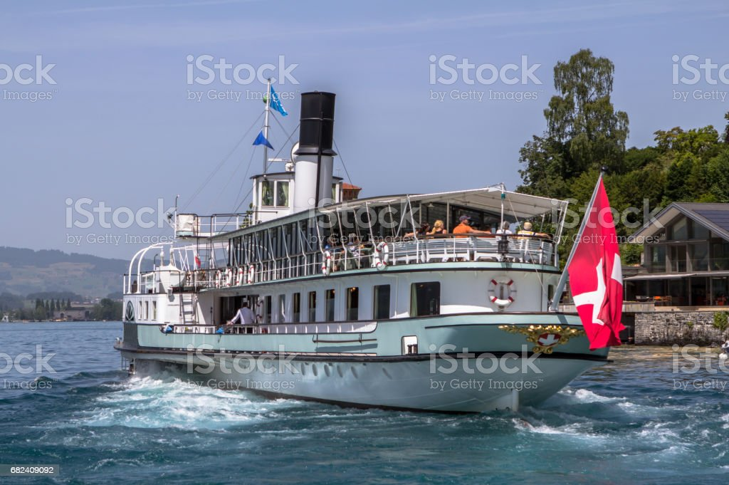 Cruiser swiss ship on the lake royalty-free stock photo