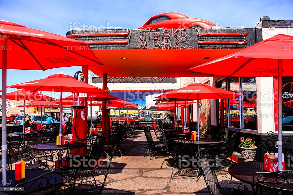 Cruisers Cafe 66 Cafe on Route 66 in Willams Arizona. stock photo