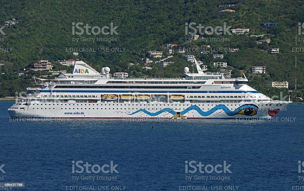 Cruiseship AIDAvita anchores off the island Tortola (B.V.I.) stock photo