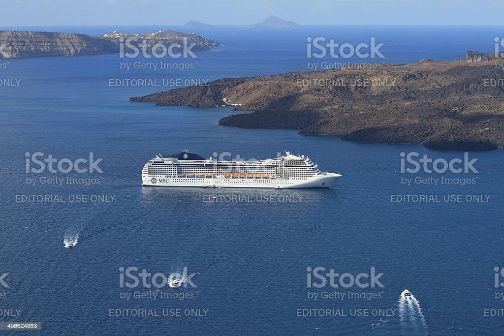Cruiseship at Santorini, Greece royalty-free stock photo