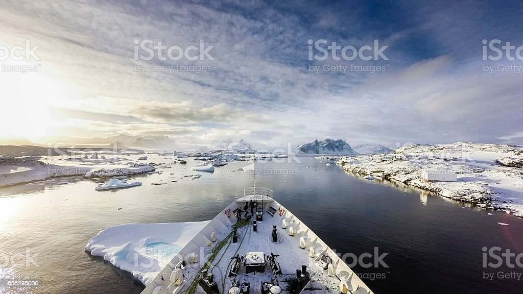 Cruising among ice stock photo