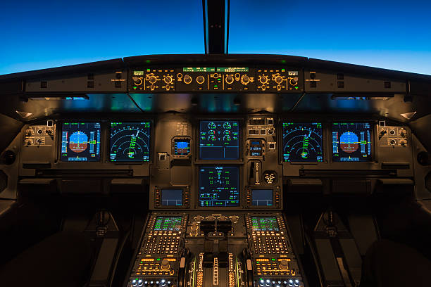 cruising at flight level 360 - cockpit stock photos and pictures