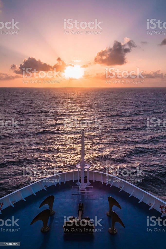 Cruising at sunset (Vertical) stock photo