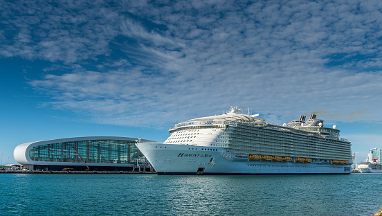 Miami, FL, USA - January 7, 2021: Cruise ships stopped at the port due to the global crisis of the Coronavirus epidemic (COVID-19) in the Port of Miami, one of the busiest ports in the United States.