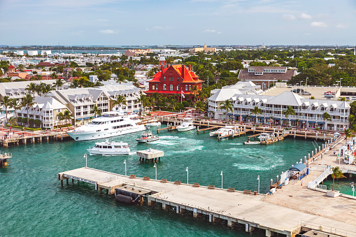 Cruising into Key West  and preparing to dock at the main cruise line port