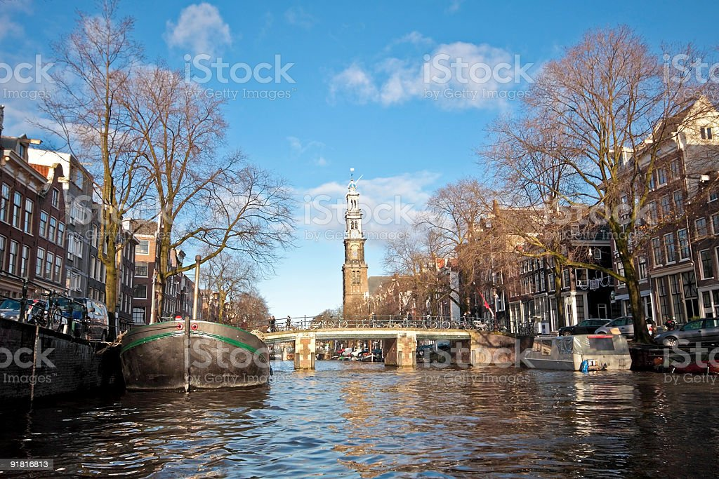 Cruising on Amsterdam canals in the Netherlands royalty-free stock photo