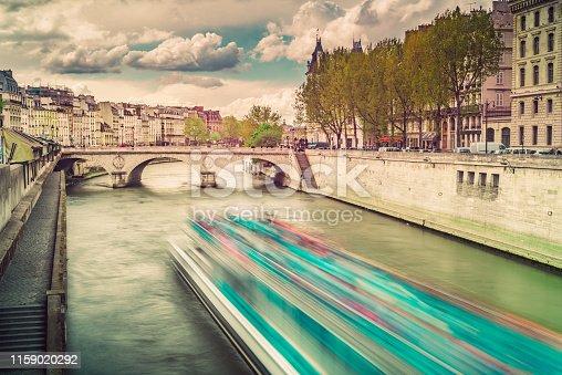 Cruising on Sena river. Paris, France.