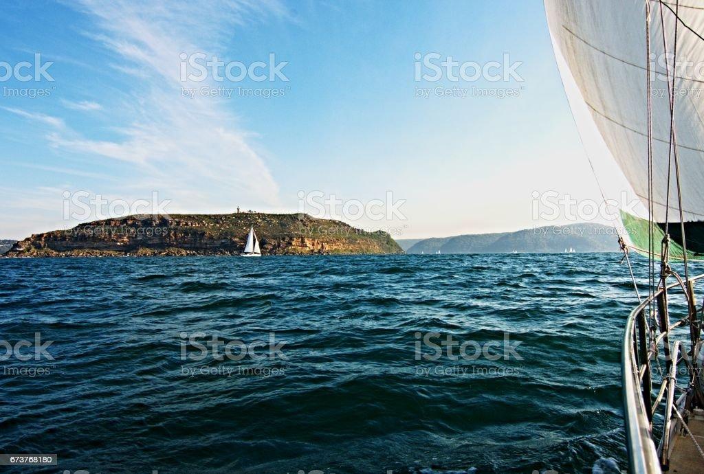 Cruising Sailing Yacht, at sea under sail. stock photo