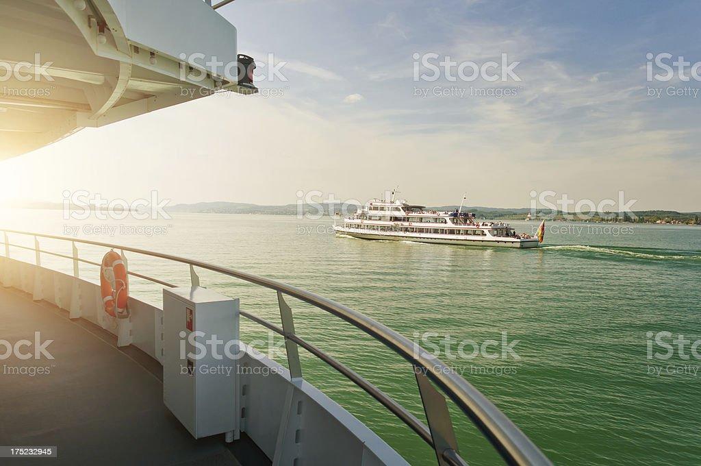 cruising ship at Bodensee Germany stock photo