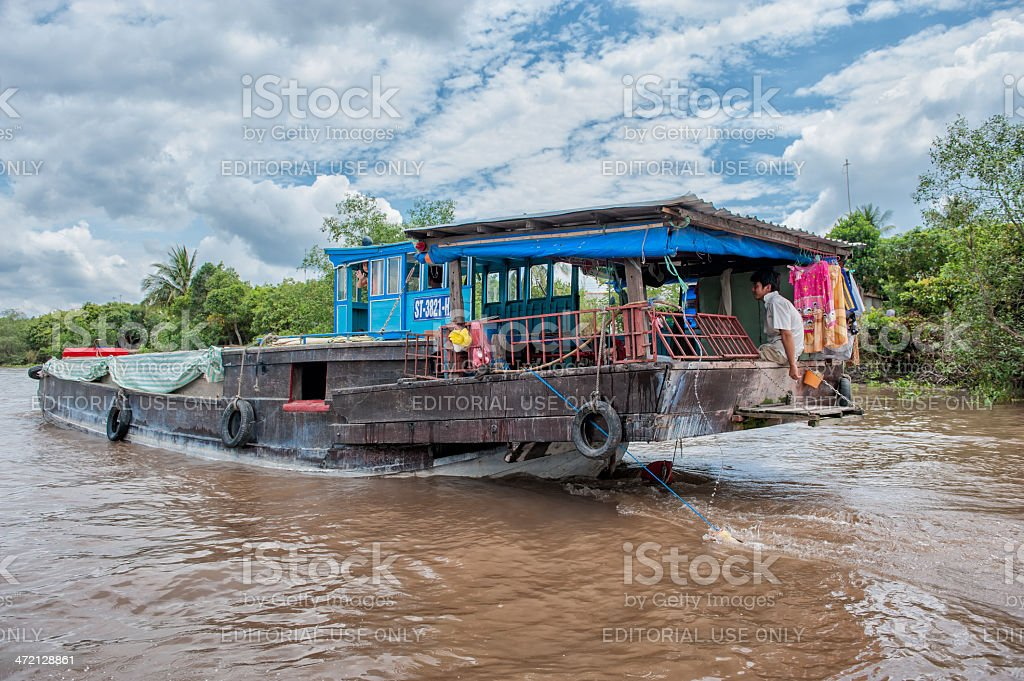 Cruising the Mekong river stock photo