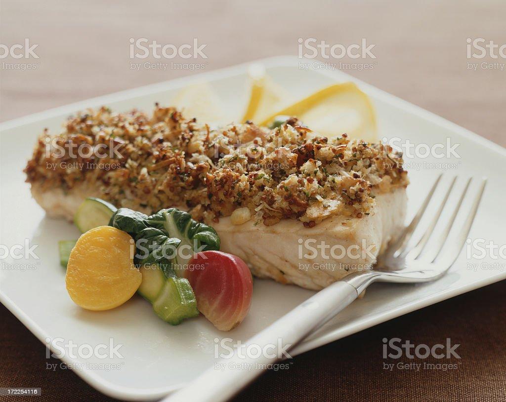 Crumbed Haddock or whitefish stock photo