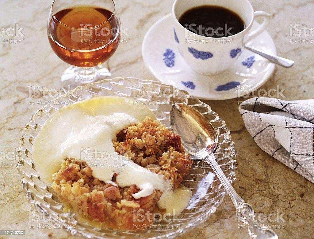 Crumble pie, custard and coffee royalty-free stock photo