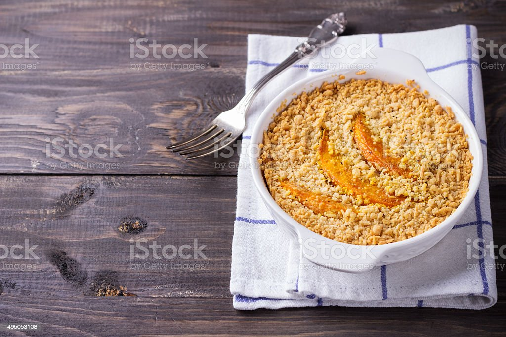 Crumble with pumpkin and cheese stock photo