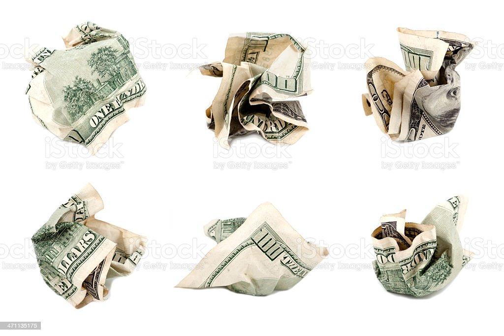 crumbled $100 bill (backside) royalty-free stock photo