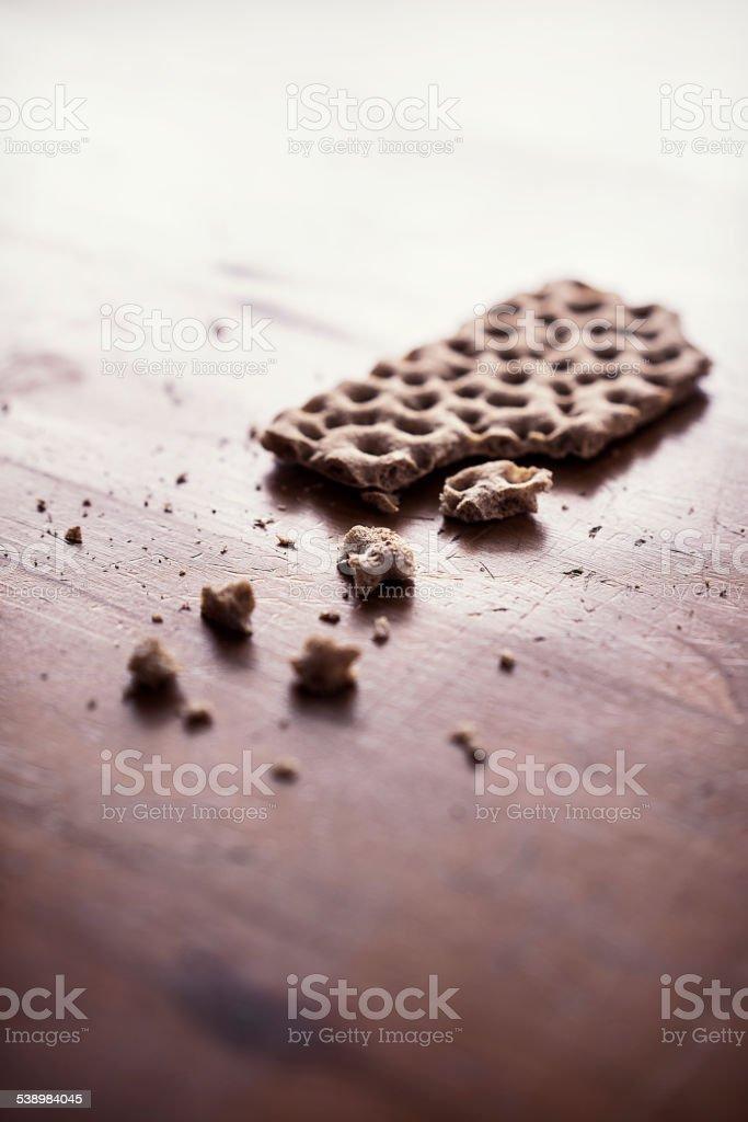 Crumbled crispbread stock photo